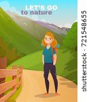 happy girl hiking in mountains... | Shutterstock .eps vector #721548655