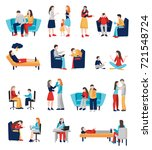 psychologist counseling people... | Shutterstock .eps vector #721548724