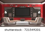 home theater interior 3d design ... | Shutterstock .eps vector #721549201