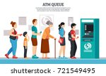 atm queue with elderly young... | Shutterstock .eps vector #721549495