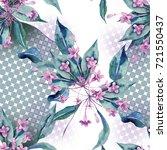 seamless pattern with weigela...   Shutterstock . vector #721550437