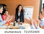 colleagues giving the applause... | Shutterstock . vector #721552405