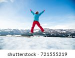 young woman on jumping   Shutterstock . vector #721555219