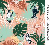 illustration tropical floral... | Shutterstock . vector #721555789