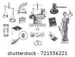 law and justice set. lawbook ... | Shutterstock .eps vector #721556221