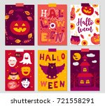 halloween greeting cards with... | Shutterstock .eps vector #721558291