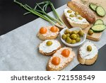 bruschetta with soft cream... | Shutterstock . vector #721558549