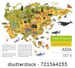 flat asian flora and fauna map... | Shutterstock .eps vector #721564255