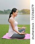 pregnant mother doing yoga in... | Shutterstock . vector #721566079
