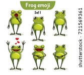 vector set of cute frog... | Shutterstock .eps vector #721569361