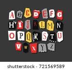 colorful newspaper alphabet.... | Shutterstock .eps vector #721569589