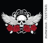 winged skull and roses ... | Shutterstock .eps vector #721572631