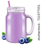 blueberry juice   smoothie in a ... | Shutterstock .eps vector #721577551