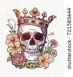 beautiful romantic skull with... | Shutterstock .eps vector #721583644