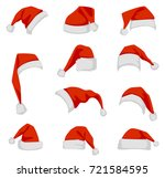 set of red santa claus hats.... | Shutterstock .eps vector #721584595