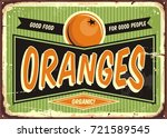 fresh organic oranges vintage... | Shutterstock .eps vector #721589545