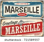 greetings from marseille france ... | Shutterstock .eps vector #721589557