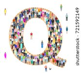 letter q  group of people ... | Shutterstock .eps vector #721592149