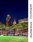 bryant park and skyscrapers ... | Shutterstock . vector #721592659
