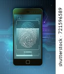 smartphone with biometric... | Shutterstock . vector #721596589