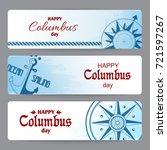 happy columbus day banners  in... | Shutterstock .eps vector #721597267