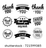 thank you vintage label set. | Shutterstock . vector #721599385