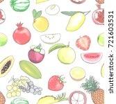vector seamless fruit painting... | Shutterstock .eps vector #721603531