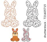cute rabbit  the labyrinth... | Shutterstock .eps vector #721605715