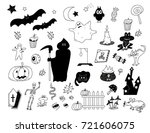hand drawn cute halloween... | Shutterstock .eps vector #721606075