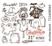 big set of halloween doodle... | Shutterstock .eps vector #721608064