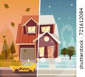 big suburban house  autumn and... | Shutterstock .eps vector #721612084