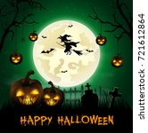 halloween background with... | Shutterstock . vector #721612864