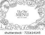 fast food template frame and... | Shutterstock .eps vector #721614145