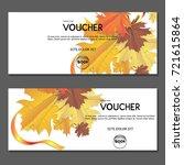 gift voucher.autumn yellow... | Shutterstock .eps vector #721615864