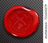 wax seal stamp red certificate... | Shutterstock .eps vector #721633279