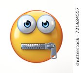 Zipped Mouth Emoji Isolated On...