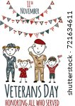 veterans day greeting card with ... | Shutterstock .eps vector #721634611