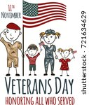 veterans day greeting card with ... | Shutterstock .eps vector #721634629