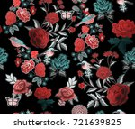 embroidery flowers birds... | Shutterstock . vector #721639825