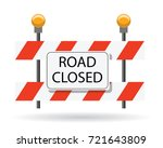road closed  road barrier  | Shutterstock .eps vector #721643809