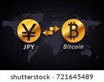 japanese yen to bitcoin... | Shutterstock .eps vector #721645489
