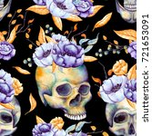 seamless pattern of watercolor... | Shutterstock . vector #721653091