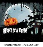 happy halloween background with ... | Shutterstock .eps vector #721655239
