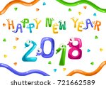 funny snake shaped 2018 happy... | Shutterstock .eps vector #721662589