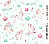 isolated cute watercolor... | Shutterstock . vector #721662829