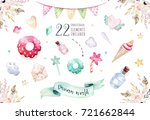 isolated cute watercolor... | Shutterstock . vector #721662844