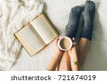 woman laying in bed and read... | Shutterstock . vector #721674019