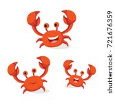 Set Of Crabs Isolated On White...