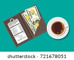folder with cash coins and... | Shutterstock .eps vector #721678051