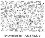 winter doodles collection.... | Shutterstock . vector #721678279